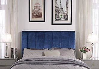 Iconic Home FHB9067-AN Uriella Headboard Velvet Upholstered Vertical Striped Modern Transitional, Twin, Navy