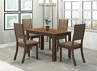 Viero Conjunto Sala de Jantar Mesa Violeta 4 Cadeiras Kiara Viero Grigio/Canela