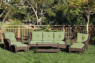 Jeco W61-FS029 6 Piece Wicker Seating Set with Green Cushions, Espresso