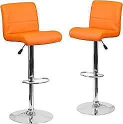 Flash Furniture 2 Pk. Contemporary Orange Vinyl Adjustable Height Barstool with Chrome Base