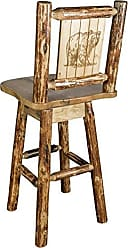 Montana Woodworks Glacier Country Collection Barstool with Back & Swivel, Laser Engraved Bear Design
