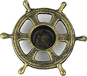 Handcrafted Nautical Decor Hampton Nautical Cast Iron Ship Wheel Decorative Tea Light Holder, 5, Antique Gold