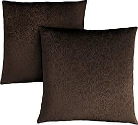 Monarch Specialties Decorative Throw Pillow, Floral Velvet, Dark Brown, 2pcs