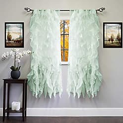 Sweet Home Collection 2 Pack Window Panel Sheer Voile Vertical Ruffled Waterfall Curtains, 63 x 50, Mint