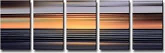 Ready2HangArt Ready2hangart 5 Piece Blur Stripes XI Canvas Wall Art Set, 24 x 60