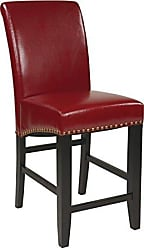 Office Star Metro Bonded Leather Parsons Counter-Height Bar Stool with Nailhead Accents, 24-inch, Red