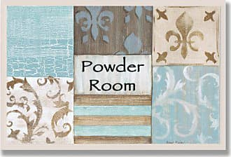 The Stupell Home Décor Collection The Stupell Home Decor Collection Fleur de Lis Powder Room Blue, Brown and Beige Bathroom Wall Plaque