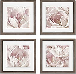 WEXFORD HOME Intimate Blush Spring Collection Flower Print 4 Panels Set Framed Décor for Home Office Wall Art, 15X15, Burly Wood
