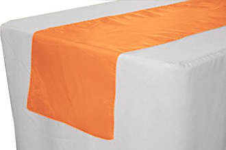 LA Linen Sheer Mirror Organza Table Runner 14 by 108-Inch, Orange, 14 x 108