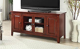 Major-Q 9010340 Transitional Contemporary Style Cherry Finish Rectangular Wooden Top and Frame TV Stand