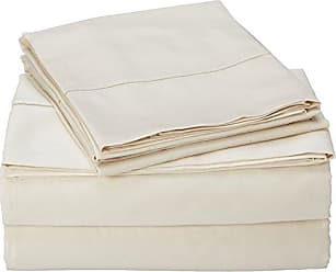 Charisma 310 Thread Count Classic Solid Cotton Sateen King Sheet Set in Almond Milk