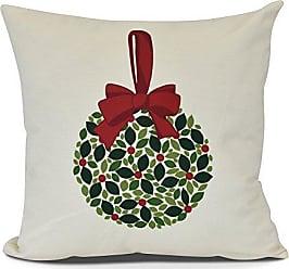 E by Design E by design PHF970GR26-20 Mistletoe Me Decorative Floral Throw Pillow, 20, Cream