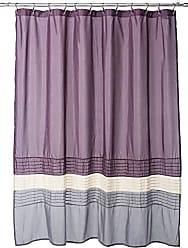 Lush Décor Mia Shower Curtain | Fabric Color Block Striped Neutral Bathroom Decor, 72 x 72 - Purple and Gray
