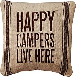 Primitives By Kathy 21686 Dark Striped Pillow, 10 x 10, Happy Campers