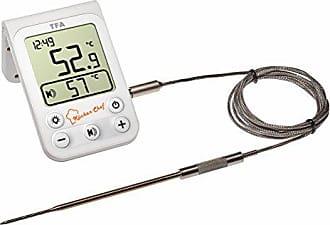 Kunststoff TFA Dostmann Digitales Sous-Vide Thermometer mit Edelstahleinstichfühler und Schaumstoffband zum Abdichten Schwarz 4 x 2 x 8 cm