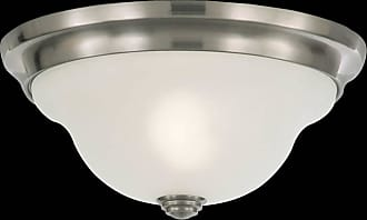 Feiss FM250BS Vista Flushmounted Fixture in Brushed Steel finish with White Alabaster Glass Shade