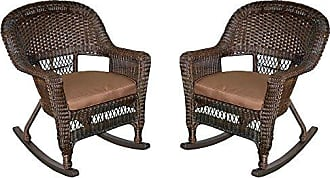 Jeco W00201R-A_2-FS007 Rocker Wicker Chair with Brown Cushion, Set of 2, Espresso