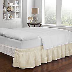 Ellery Homestyles Easy Fit Embroidered Bed Skirt - Baratta Wrap Around Easy On/Off Dust Ruffle 18-Inch Drop Bedskirt, Queen/King, Camel