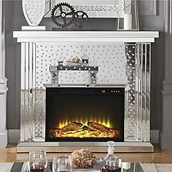 Benzara BM185925 Wooden Electric Fireplace with Touch Panel and Remote Controller, Silver