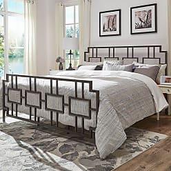 Weston Home Block Headboard and Footboard Metal Bed, Size: Queen - 68E432BQ-DK[BD]