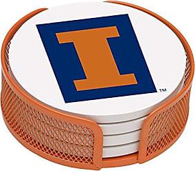 Thirstystone VUIL-HA25 Stoneware Drink Coaster Set with Holder, University of Illinois