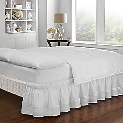 Ellery Homestyles Easy Fit Embroidered Bed Skirt - Baratta Wrap Around Easy On/Off Dust Ruffle 18-Inch Drop Bedskirt, Queen/King, White