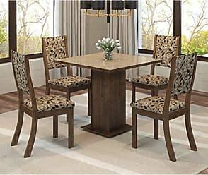 Viero Conjunto Sala de Jantar Mesa Quadrada Tampo MDF Luana 4 Cadeiras Kiara Viero Grigio/Medina/Vidro Bronze