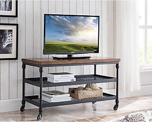 Overstock Covington TV Cart with USB Charging Station in Canyon Oak (Brown - Industrial)