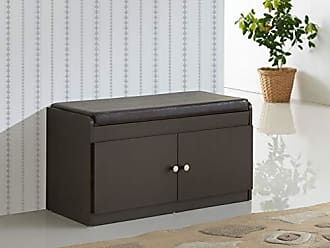 Wholesale Interiors Baxton Studio Margaret Modern & Contemporary Wood 2-Door Shoe Cabinet with Faux Leather Seating Bench, Dark Brown