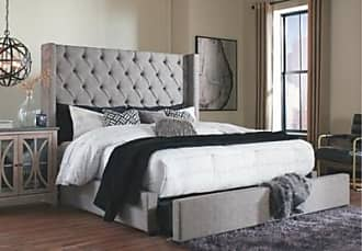 Ashley Furniture Sorinella California King Upholstered Bed with Storage, Gray