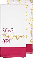 Pavilion Gift Company Eat Well. Champagne Often - Pink & Orange Patterned Tea Towel Set of 2