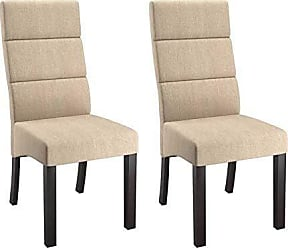 CorLiving DPP-310-C Antonio Tall Cream Woven Upholstered Dining Chairs with Solid Wood Curved Back Legs, Set of 2
