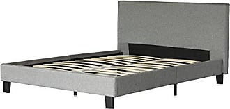 US Pride Furniture Fabric Upholstery Platform Bed with Wooden Slats, Queen, Grey