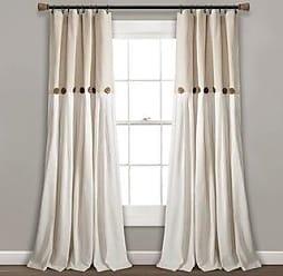 Lush Décor Linen Button Window Curtain Single Panel (95L x 40W - Linen)