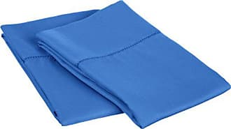 Superior Cotton Blend 600 Thread Count, Soft, Wrinkle Resistant 2-Piece King Pillowcase Set, Classic Hemstitch Blue