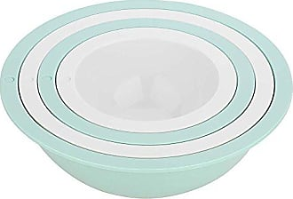 Zak designs 2324-7005 Tilt Mixing Bowls, 9.5 by 9.5, Mint & White