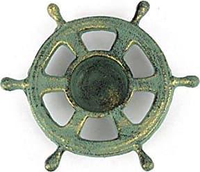 Handcrafted Nautical Decor Hampton Nautical Cast Iron Ship Wheel Decorative Tea Light Holder, 5, Antique Bronze