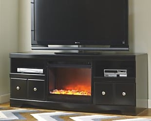 Ashley Furniture Shay 64 TV Stand with Electric Fireplace, Black