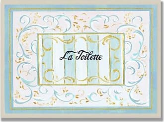The Stupell Home Décor Collection The Stupell Home Decor Collection La Toilette Aqua, Beige and Gold Scrolls Bathroom Wall Plaque
