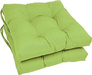 Blazing Needles Solid Twill Square Tufted Chair Cushions (Set of 2), 16, Mojito Lime