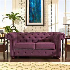Weston Home Bowman Linen Loveseat Purple - 68E208LS-PL1[LS]