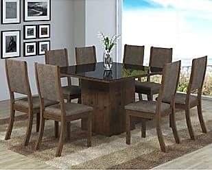 Viero Conjunto Sala de Jantar Mesa 8 Cadeiras Isabela Viero Grigio/Canela/Vidro Preto