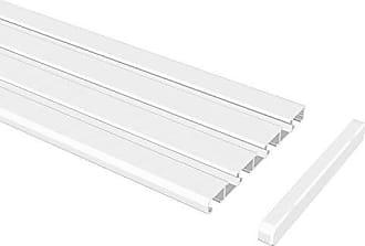 Flairdeco Schleuderstab // Gardinenstab mit Riffelgriff Wei/ß Aluminium 100 cm