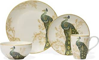 222 Fifth Serene Peacock 16 Piece Dinnerware Set (Pack of 16)