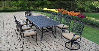 Oakland Living Outdoor Oakland Living Hampton 9 Piece Rectangular Patio Dining Set with Stackable and Swivel Chairs Sunbrella Cushion - 7207T-7201C6-7202S2-D54-17-AB