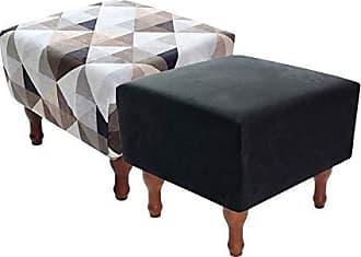 BF Colchões Kit com 2 Puff Banqueta 40x40cm Quadrado Decorativo Pés Madeira