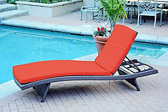 Jeco WL-1_CL1-FS018 Wicker Adjustable Chaise with Red Cushion Espresso
