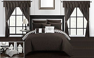 Chic Home Sigal 20 Piece Comforter Set Reversible Geometric Quilted Design Complete Bed in a Bag Bedding - Sheets Decorative Pillows Shams Window Treatments Curtains Included Queen Brown