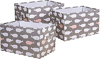 Triangle Home Fashions Lush Decor Whale Fabric Covered 3 Piece Collapsible Storage Box Set, 15 x 13 x 13, Pink