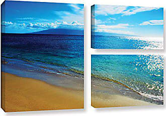 ArtWall Kathy Yates Blue Hawaii 3 Piece Gallery-Wrapped Canvas Artwork, 24 by 36